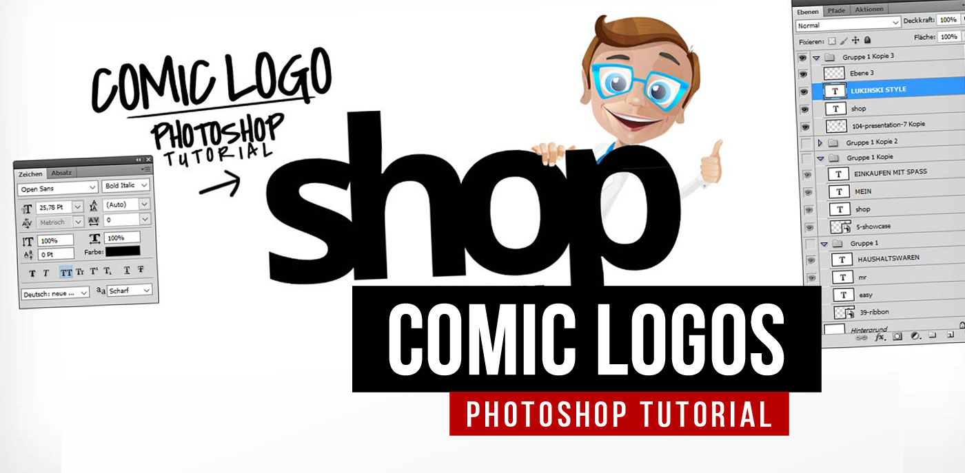 Photoshop Tutorial für Logos mit Zeichentrick Figuren / Cartoon Characters