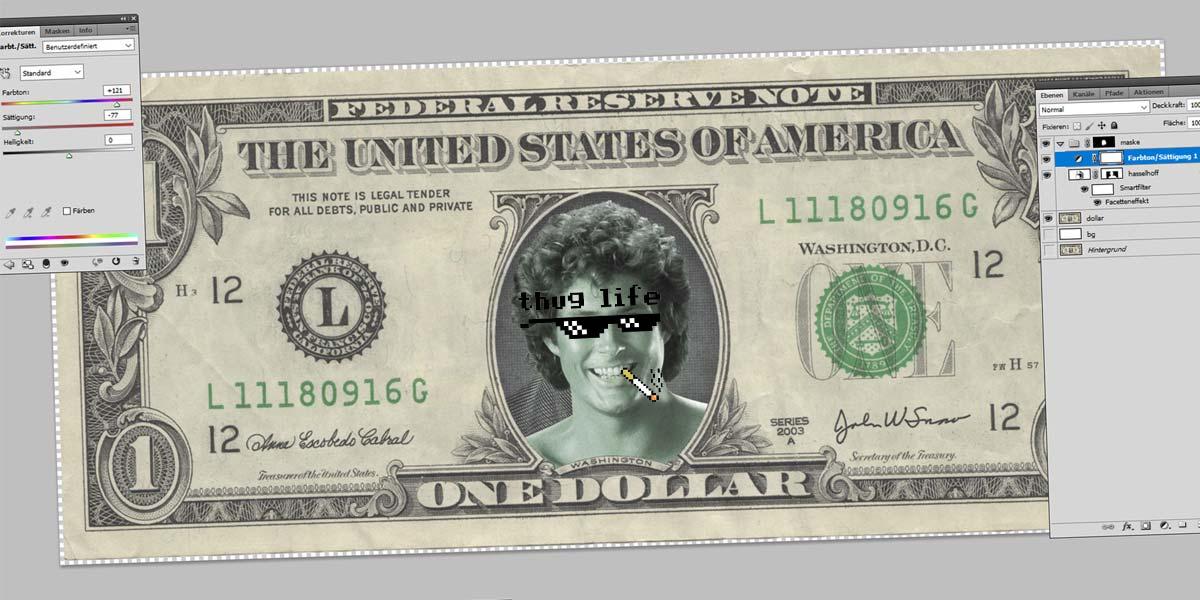 Hasselhoff Dollar - Photoshop Tutorial: Werkzeuge, Freistellen, Zauberstab und Masken
