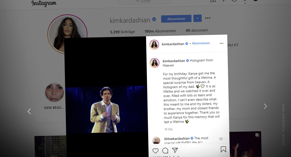 Digitaler Avatar: Kim Kardashian trifft auf verstorbenen Vater - Trends